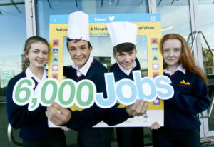 Business / News 28092017. Pictured are, students Niamh Farrelly, Adam Elmaadi, Nathan Stafford and Annie Byrne all from Scoil Ui Mhuire, Dunleer Co. Louth, at the National Tourism and Hospitality Careers Roadshow organised by the Irish Hotels Federation (IHF) and Dublin Regional Skills at the Aviva Stadium. The industry-led initiative gives 15-18 year olds a first-hand view of the career choices available in the sector. Each year hospitality and tourism businesses around the country look to recruit over 6,000 entry-level employees across all areas of their operations. Photo Chris Bellew /Fennell Photography.