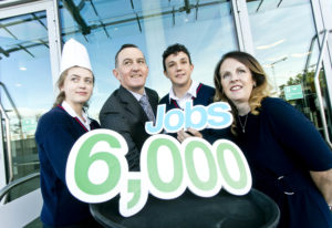 Business / News 28092017. Pictured are, students Niamh Farrelly, Adam Elmaadi, from Scoil Ui Mhuire, Dunleer Co. Louth with Michael Vaughan, Irish Hotels Federation with Natasha Kinsella, Dublin Regional Skills, at the National Tourism and Hospitality Careers Roadshow organised by the Irish Hotels Federation (IHF) and Dublin Regional Skills at the Aviva Stadium. The industry-led initiative gives 15-18 year olds a first-hand view of the career choices available in the sector. Each year hospitality and tourism businesses around the country look to recruit over 6,000 entry-level employees across all areas of their operations. Photo Chris Bellew /Fennell Photography.